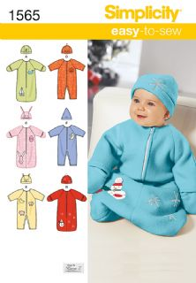 1565 Simplicity Pattern: Babies' Warm Blanket Suit, Romper and Hats
